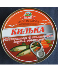 Sprat in tomato sauce with vegetables